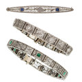 Estate Jewelry:Lots, Diamond, Sapphire, Glass, White Gold Jewelry. ... (Total: 3 Items)