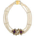 Estate Jewelry:Necklaces, Amethyst, Diamond, Cultured Pearl, Gold Necklace. ...