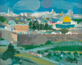Fine Art - Painting, American, Marcel Mouly (French, 1918-2008). Matin à Jérusalem (Morning inJerusalem), 1981. Oil on canvas. 7-1/2 x 9-1/2 inches (1...