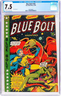 Blue Bolt #105 (Star Publications, 1950) CGC VF- 7.5 Off-white to white pages