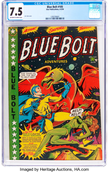 Blue Bolt #105 (Star Publications, 1950) CGC VF- 7.5 Off-white to white pages....