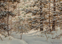 Robert Melvin Decker (American, 1847-1921) Winter Pine Oil on canvas 10 x 14 inches (25.4 x 35.6