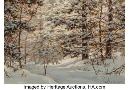 Robert Melvin Decker (American, 1847-1921)Winter PineOil on canvas10 x 14 inches (25.4 x 35.6 cm)Signed lower ri...