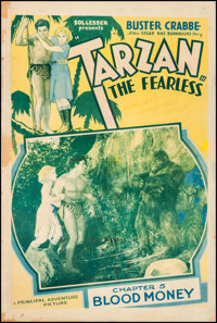 "Tarzan the Fearless (Principal Distributing, 1933). One Sheet (27"" X 41""). Chapter 5 -- ""Blood Money.&quo..."