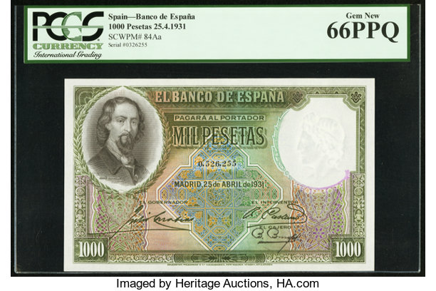 World Currency Spain Banco De Espana 1000 Pesetas 25 4 1931 Pick 84aa