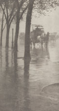 Photographs:Photogravure, Alfred Stieglitz (American, 1864-1946). Spring Showers, theCoach, 1899-900. Photogravure, printed later. 5-1/4 x 3 inch...