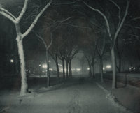 Alfred Stieglitz (American, 1864-1946) An Icy Night, 1898 Photogravure, printed later 4-7/8 x 6-1