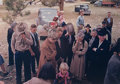 Photographs:Dye-transfer, Russell Lee (American, 1903-1986). Before the Barbeque wasServed at the Pie Town, New Mexico Fair, Grace was Said,Oct....