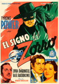 "Movie Posters:Swashbuckler, The Mark of Zorro (20th Century Fox, 1944). First Release Spanish One Sheet (27"" X 39"") Soligo Artwork.. ..."