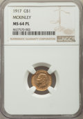 Commemorative Gold, 1917 G$1 McKinley Gold Dollar MS64 Prooflike NGC....