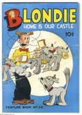 Golden Age (1938-1955):Humor, Feature Books #34 Blondie (David McKay, 1939) Condition: GD/VG. Overstreet 2005 GD 2.0 value = $22; VG 4.0 value = $44. Fr...