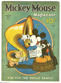 """Mickey Mouse Magazine #6 (K. K. Publications, Inc., 1936) Condition: VG/FN. Otto Messmer art. Gerber """"scarce""""..."""