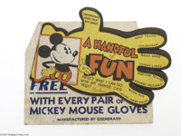 Mickey Mouse Handful of Fun Book and Promotional Display Sign (Eisendrath, 1930s). During the 1933-1936 period, the Eise...