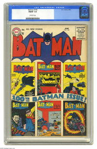 Batman #100 (DC, 1956) CGC FN/VF 7.0 Off-white pages. In this 100th issue, Batman has a bright idea, offering a scholars...