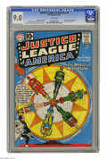 """Silver Age (1956-1969):Superhero, Justice League of America #6 (DC, 1961) CGC VF/NM 9.0 White pages. This story being called """"The Wheel of Misfortune,"""" you ca..."""
