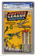 Silver Age (1956-1969):Superhero, Justice League of America #13 (DC, 1962) CGC NM 9.4 White pages. Inthe DC Universe, having a robot double is no big deal, j...