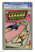 Silver Age (1956-1969):Superhero, Justice League of America #17 (DC, 1963) CGC NM 9.4 Off-white pages. It's twister time as the JLA takes on the Tornado Tyran...