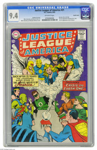 Justice League of America #21 (DC, 1963) CGC NM 9.4 Off-white pages. This issue re-introduces the JSA into this title, a...