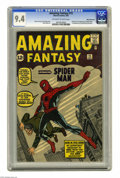 Silver Age (1956-1969):Superhero, Amazing Fantasy #15 White Mountain pedigree (Marvel, 1962) CGC NM9.4 Off-white to white pages. Here's a genuine milestone i...