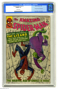 The Amazing Spider-Man #6 (Marvel, 1963) CGC VF/NM 9.0 Off-white pages. It's the first appearance of the Lizard, who's t...
