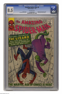 The Amazing Spider-Man #6 (Marvel, 1963) CGC VF+ 8.5 Off-white pages. The half-man and half-reptile, long-time Spidey fo...
