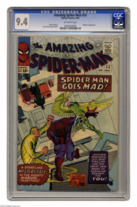 The Amazing Spider-Man #24 (Marvel, 1965) CGC NM 9.4 Off-white pages. Images of the Vulture and the Sandman surround Spi...