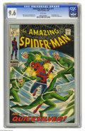 Silver Age (1956-1969):Superhero, The Amazing Spider-Man #71 (Marvel, 1969) CGC NM+ 9.6 White pages. Quicksilver zips into town to look up the Avengers, but s...