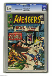 Avengers #18 (Marvel, 1965) CGC NM+ 9.6 Off-white to white pages. The Commissar's in town, uh-oh! He's the villain of th...