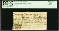 North Carolina March 9, 1754 20s PCGS About New 53