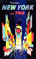 "Movie Posters:Miscellaneous, TWA New York Travel Poster (1958). David Klein Full-Bleed Day-Glo Poster (25"" X 40"") Prop Plane Style.. ..."
