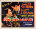 "Movie Posters:Comedy, Come Live with Me (MGM, 1941). Half Sheet (22"" X 28""). Comedy.. ..."