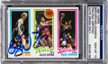 Autographs:Sports Cards, 1980 Topps Bird/Erving/Johnson PSA/DNA Gem MT 10 - Signed by All Three! . ...