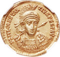 Ancients:Roman Imperial, Ancients: Constantius II (AD 337-361). AV solidus (21mm, 4.51 gm,7h).NGC Choice AU ★ 5/5 - 4/5....