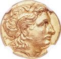 Ancients:Greek, Ancients: THRACIAN KINGDOM. Lysimachus (305-281 BC). AV stater (18mm, 8.53 gm, 3h). NGC MS ★ 5/5 - 4/5, Fine Style....