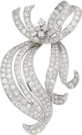 Estate Jewelry:Brooches - Pins, Diamond, Platinum Brooch The brooch features E...