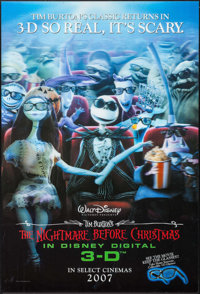"""The Nightmare Before Christmas (Walt Disney Pictures, R-2007). Lenticular One Sheet (27"""" X 40"""") 3-D Advance. A..."""