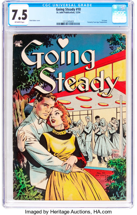 Going Steady #10 (St. John, 1954) CGC VF- 7.5 Off-white pages....