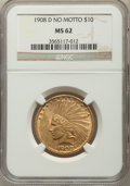 Indian Eagles, 1908-D $10 No Motto MS62 NGC....