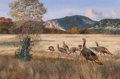 Fine Art - Painting, American, Travis Keese (American, b. 1932). Wild Turkeys. Oil oncanvas. 24 x 36 inches (61.0 x 91.4 cm). Signed lower right:T....