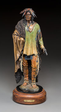 Michael Westergard (American, 20th Century) Gallant Warrior Bronze with polychrome 15 inches (38