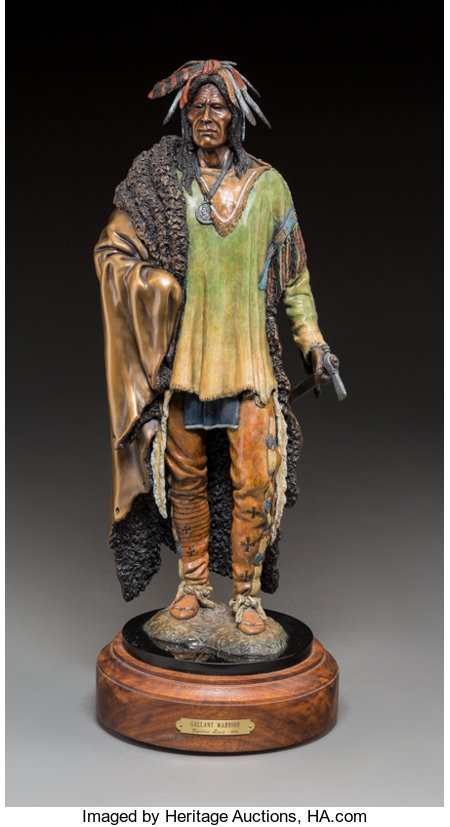 Michael Westergard (American, 20th Century)Gallant WarriorBronze with polychrome15 inches (38.1 cm) high on a  2-1...