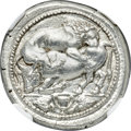 Ancients:Greek, Ancients: MACEDON. Acanthus. Ca. 470-430 BC. AR tetradrachm (38mm, 17.29 gm, 4h). NGC MS ★ 5/5 - 4/5, Fine Style....