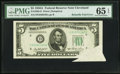 Error Notes:Attached Tabs, Fr. 1962-D $5 1950A Federal Reserve Note. PMG Gem Uncirculated 65EPQ.. ...