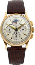 Timepieces:Wristwatch, Universal Geneve Gold Tri-Compax Chronograph With Calendar & Moon Phase. ...