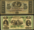 Obsoletes By State:Louisiana, New Orleans, LA- Citizens' Bank of Louisiana $5 (2) 18__ Remainders.. ... (Total: 2 notes)