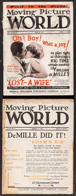 """Moving Picture World (Chalmers Publishing, 1923 & 1925). Magazines (2) (Multiple Pages, 9.25"""" X 12""""). Misc..."""