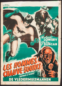 "The New Adventures of Batman and Robin (Luxor Film, 1949). Trimmed Belgian (14"" X 19.5""). Serial"