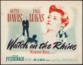 "Movie Posters:Drama, Watch on the Rhine (Warner Brothers, 1943). Title Lobby Card (11"" X14""). Drama.. ..."