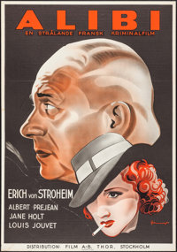 "The Alibi (Film A-B Thor, 1937). Swedish One Sheet (27.5"" X 39.5"") Eric Rohman Artwork. Mystery"