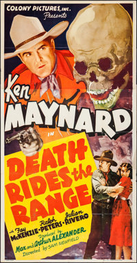 """Death Rides the Range (Colony Pictures, 1939). Three Sheet (41"""" X 80""""). Western"""